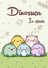 Happy dinosaur in space