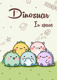 Happy dinosaur in space