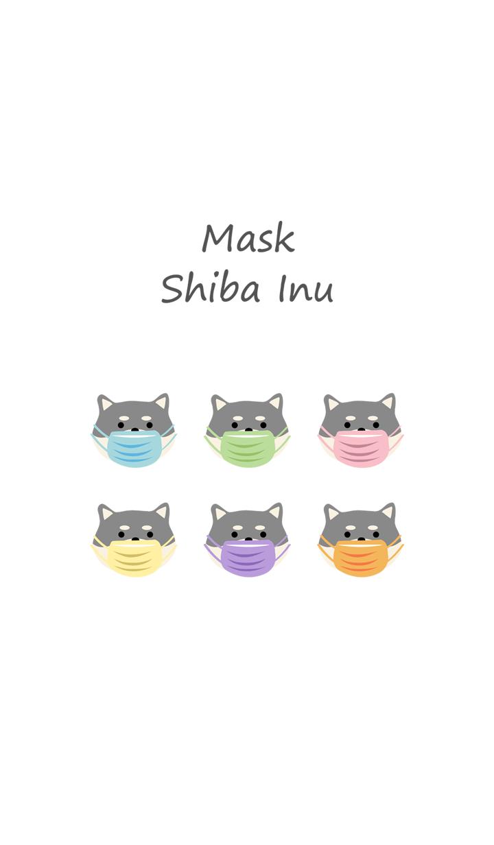 マスクをつけたかわいい柴犬