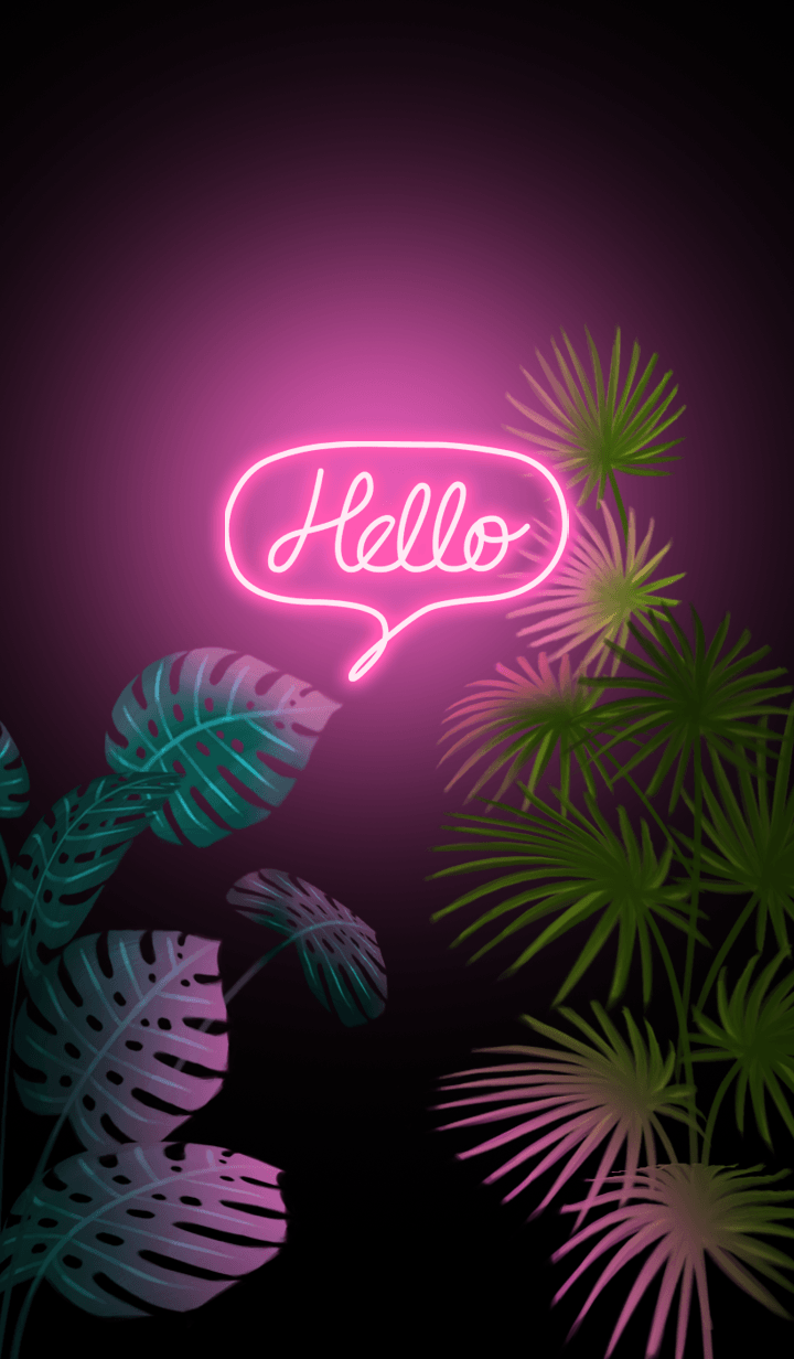 Hello neon tropical