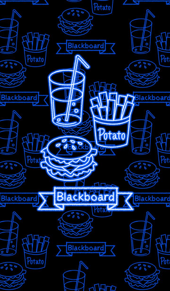 Blackboard -Neon food-