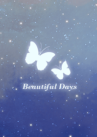 蝴蝶-浪漫夜空 漸層藍