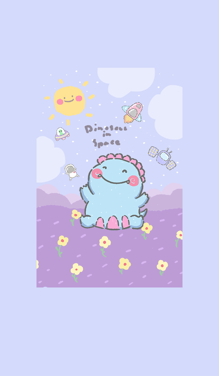 Happy dino in space