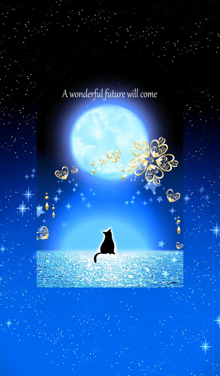 Healing effect cat and moonlit night.