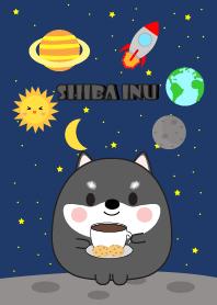 Cute black shiba inu In Galaxy Theme