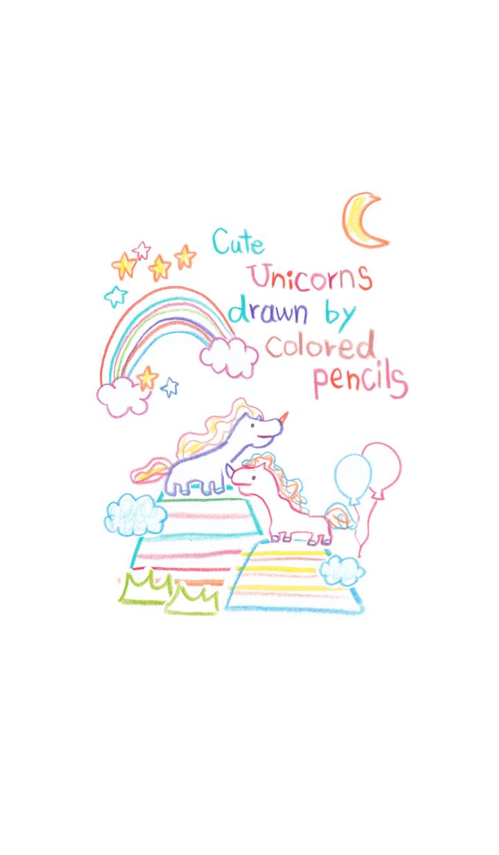 Cute Unicorns drawn by colored pencils