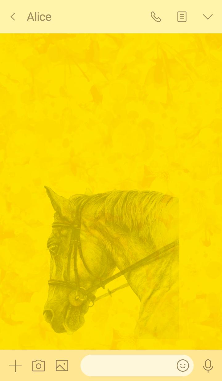 斉藤いつみの馬の絵着せ替え(イエロー)