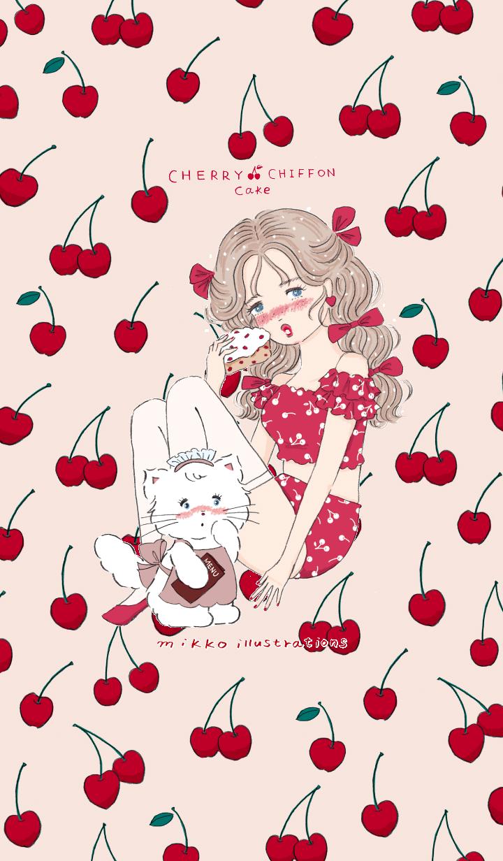 mousse and Cherry chiffon cake
