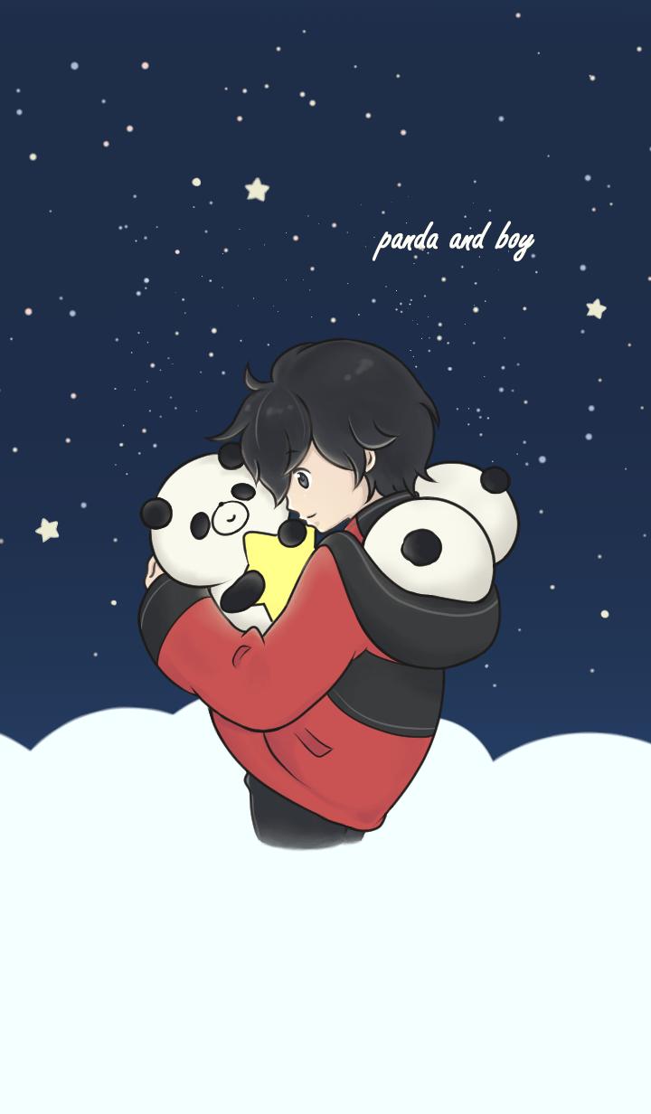 Panda and boy.