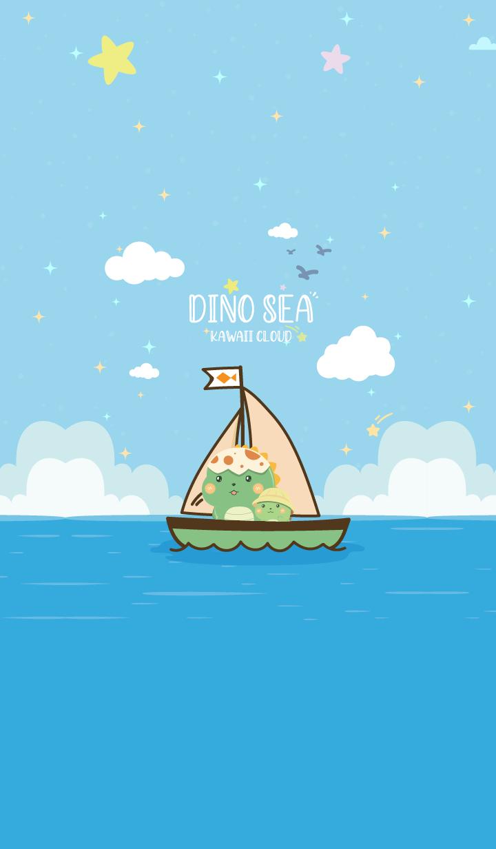 【主題】Dinosaur On The Sea Sailing Boat
