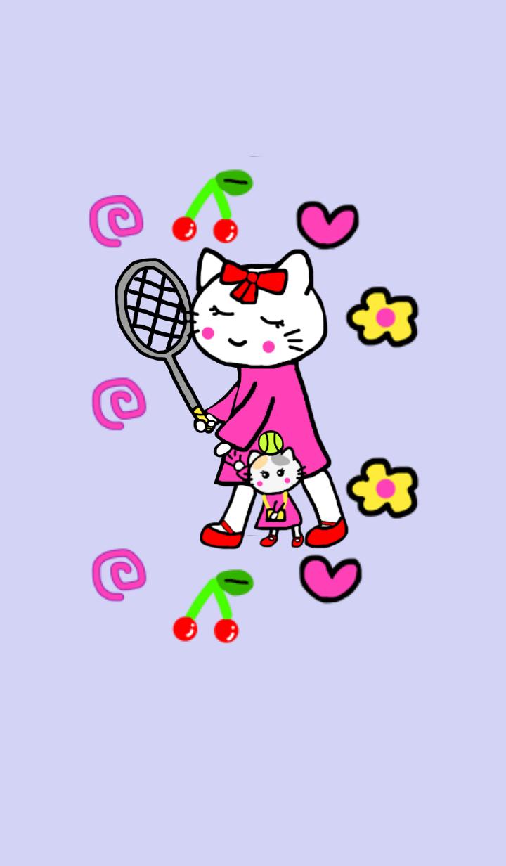 White cat mommy.Tennis vr.Purple1