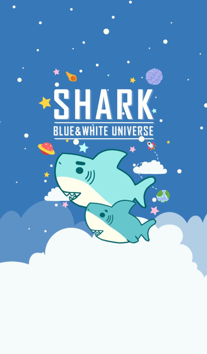 misty cat-Cute shark Galaxy blue sky
