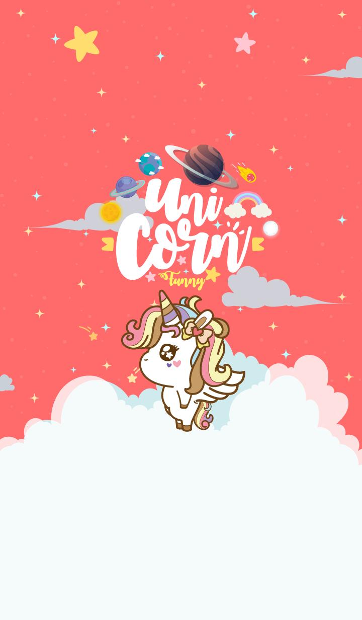 Unicorn Funny Galaxy Red