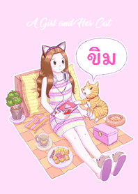 A Girl and Her Cat [Khim] (Pink)