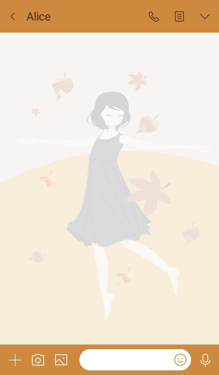 Girl dancing on dead leaves