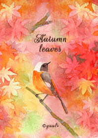 Autumn leaves and little birds