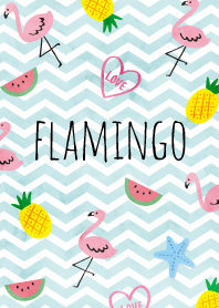 Tropical Flamingo-blue wave-