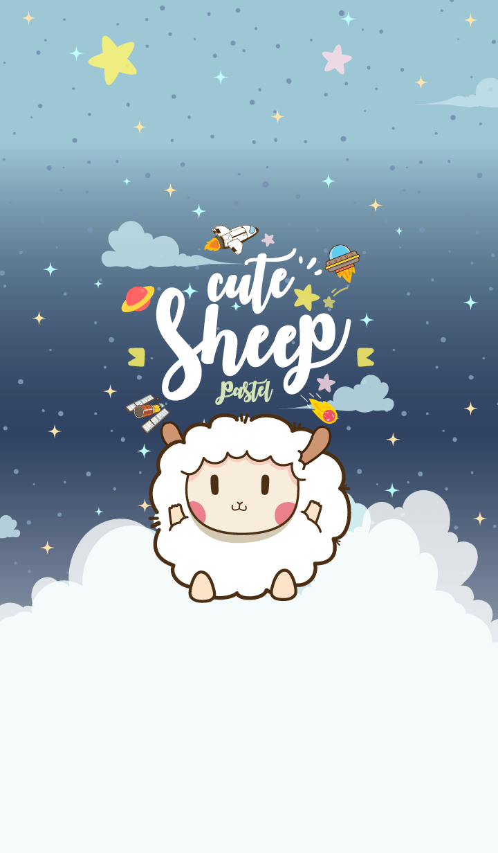 Cute Sheep Galaxy Navy Blue Pastel