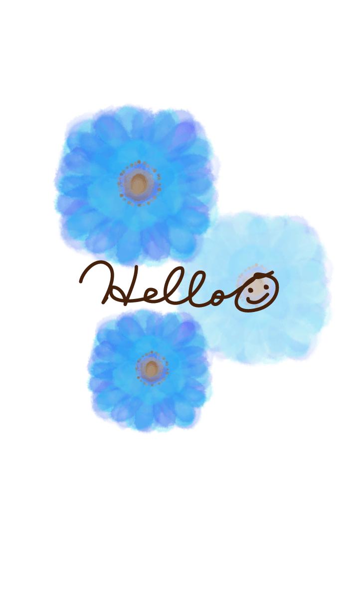 Watercolor Blue flower - smile25-