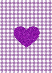Glitter purple heart purple check