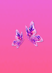 Stained glass butterfly pink
