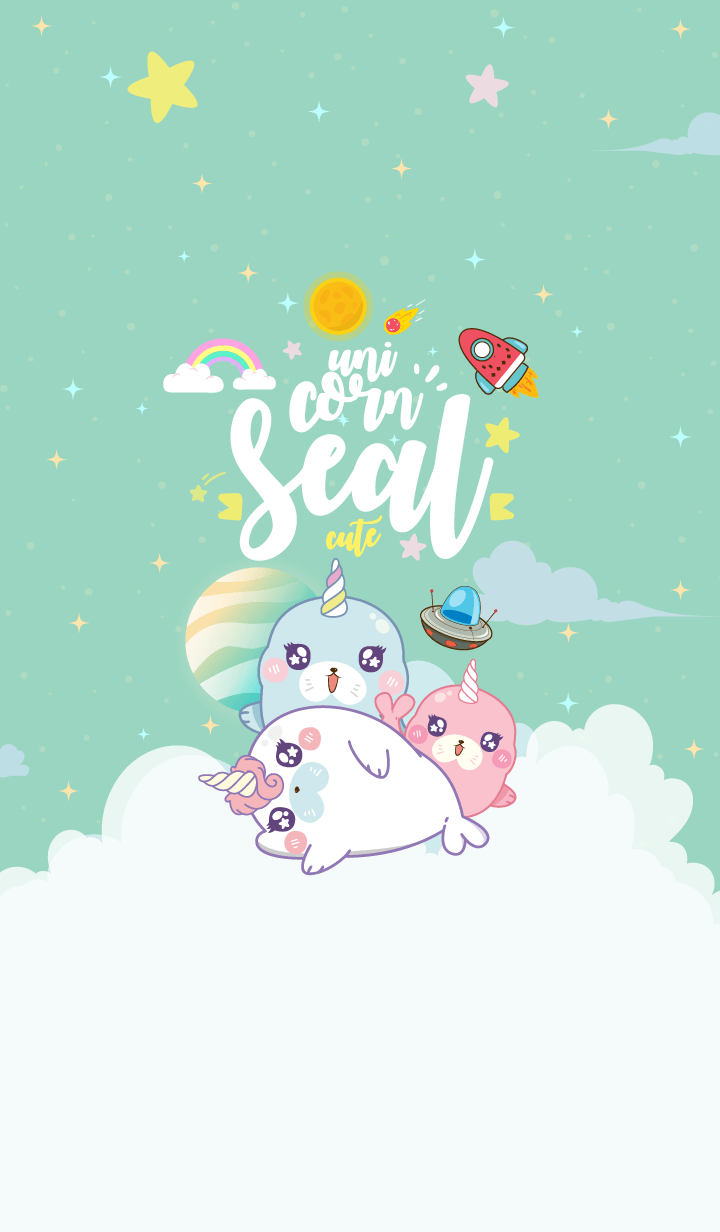Seal Unicorn Galaxy Cute Mint