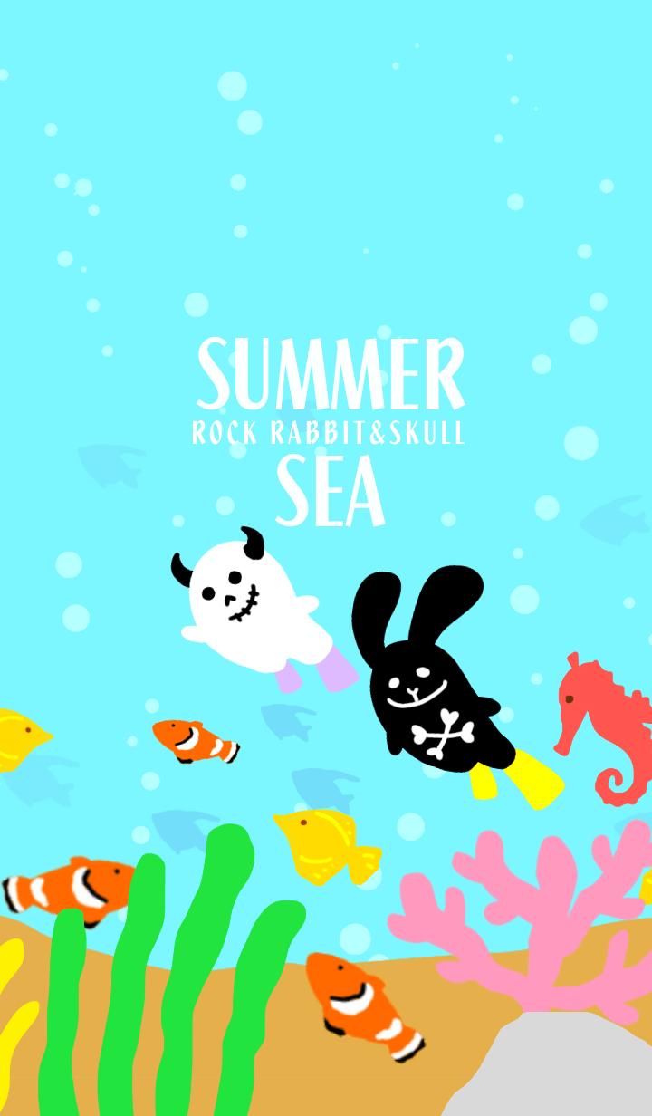 Rock rabbit and skull / summer sea