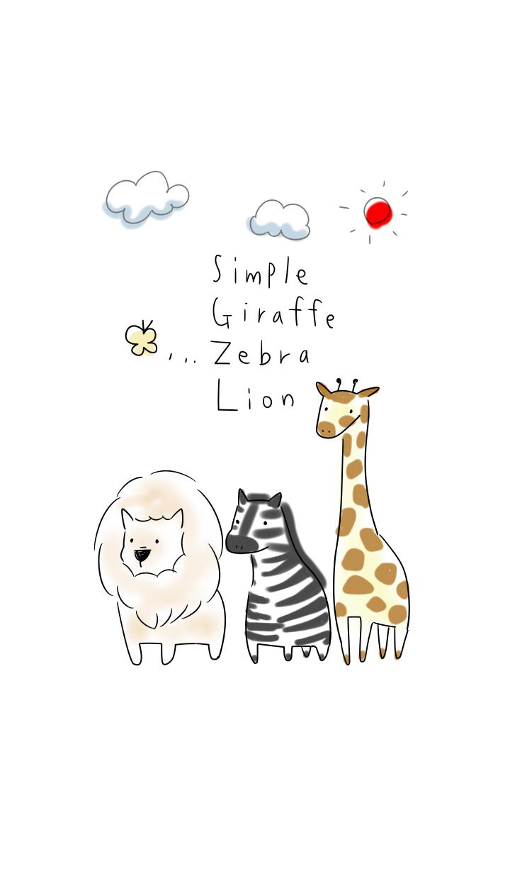 simple Giraffe zebra Lion.