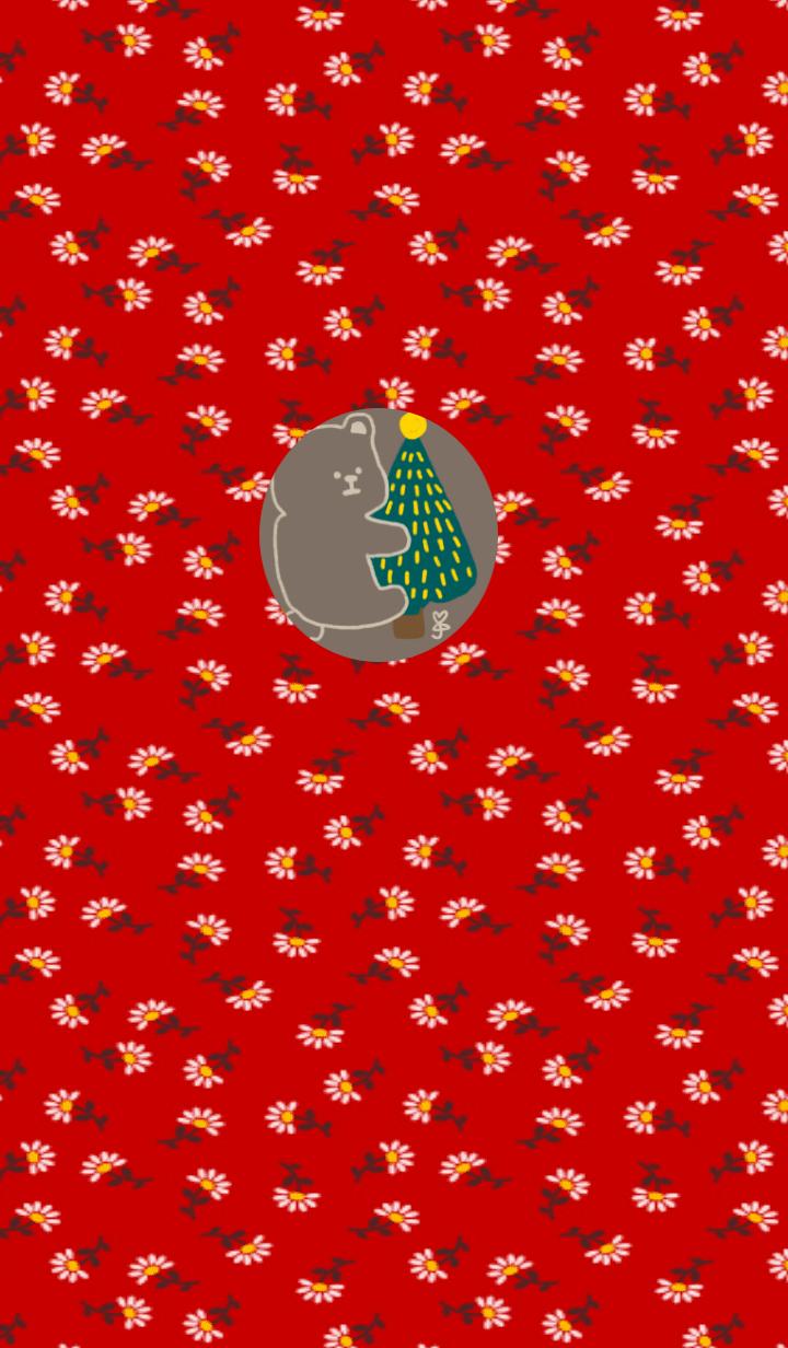 コーヒー赤小さな花クリスマスクマ