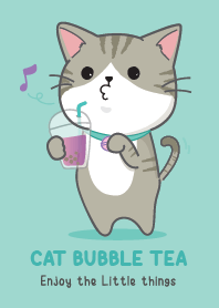 Cute Cat with bubble tea