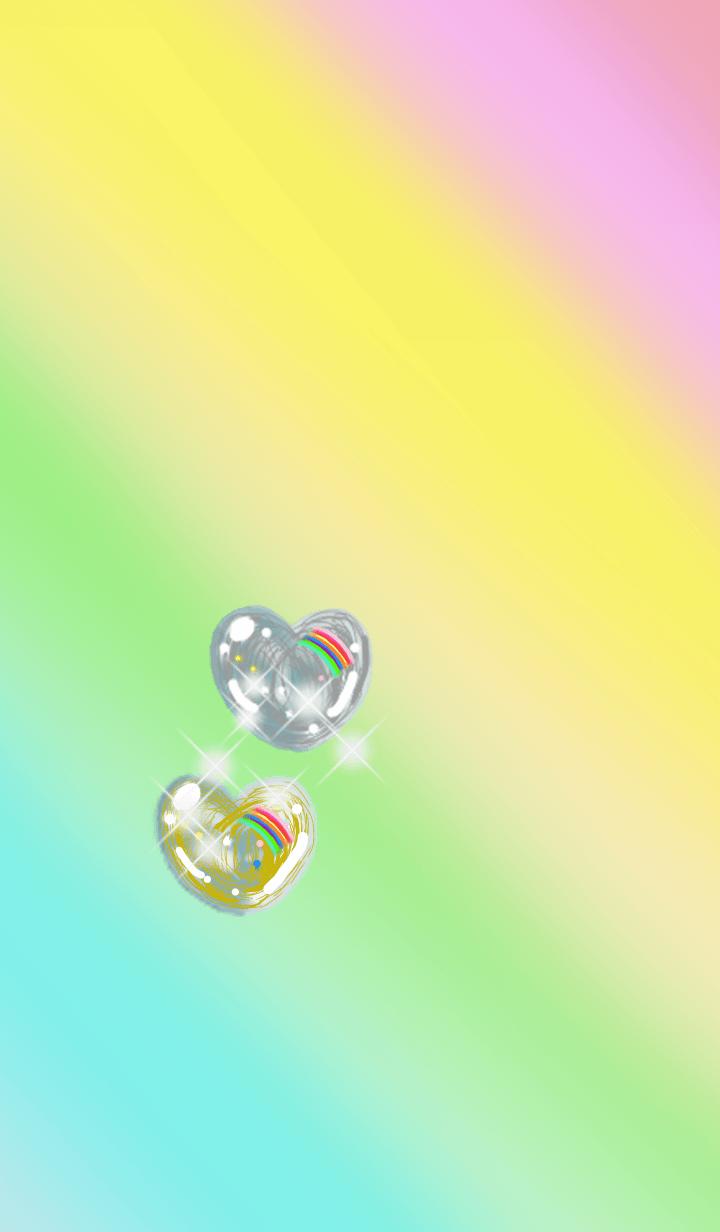ゴールド&シルバールチルクォーツ ハート1