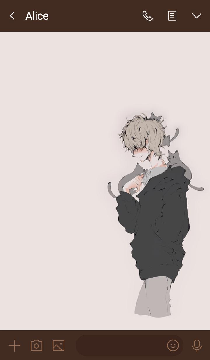 猫と戯れる男子・ブラウン