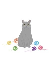 可愛毛線球(灰色貓咪)