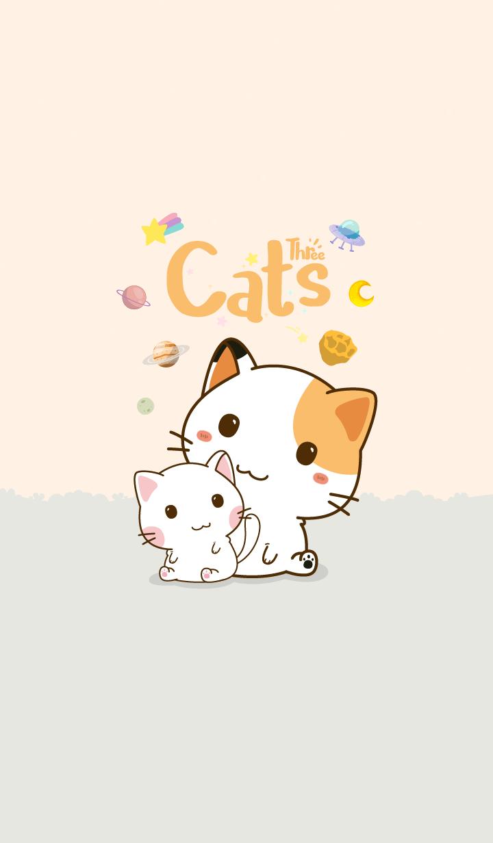 Three Cats Love Orange Pastel