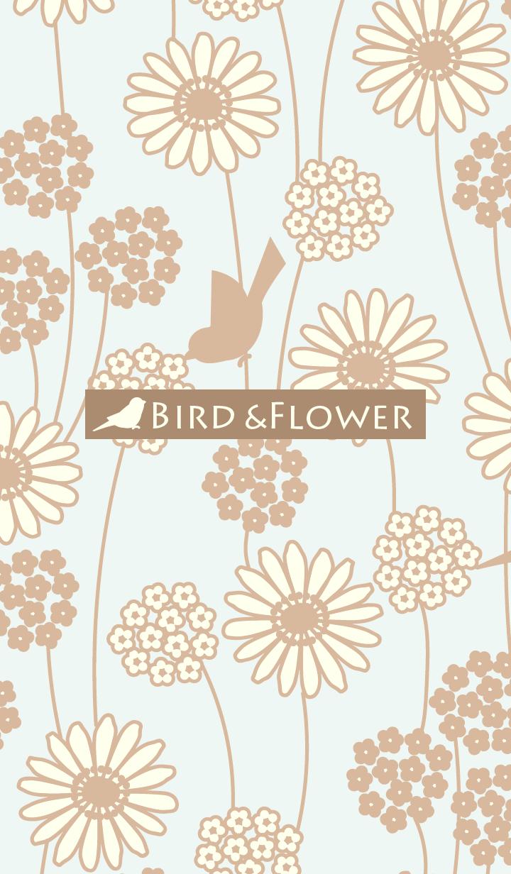 鳥和花/米色19