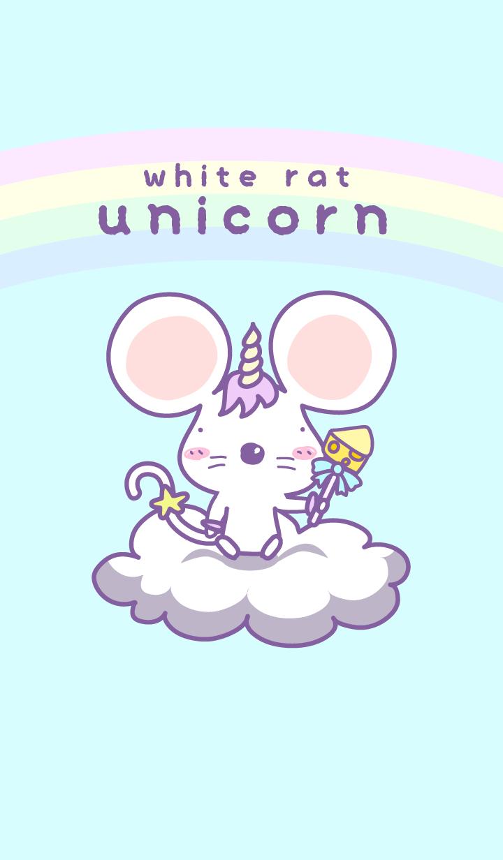White rat with unicorn cosplay