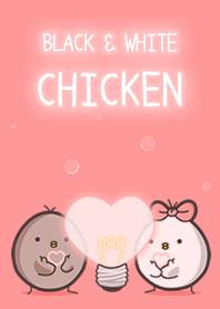 黑白雞-粉紅泡泡