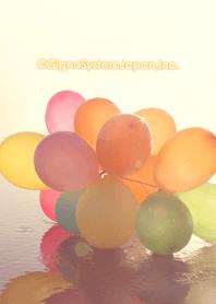 ธีมไลน์ Sunset and balloons