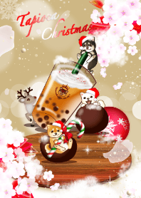 ธีมไลน์ Tapioca Christmas tea with Shiba dogs5