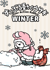 ธีมไลน์ Over Action Rabbit -WINTER2-