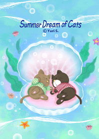 ธีมไลน์ Summer Dream of Cats 2 (Pajama Cats)