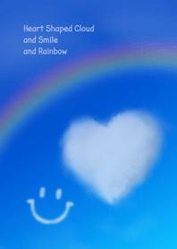 ธีมไลน์ Heart Shaped Cloud and Smile and Rainbow