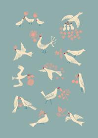 ธีมไลน์ นกและดอกไม้ต่าง ๆ