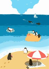 ธีมไลน์ penguin summer sea #pop