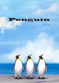 ธีมไลน์ นกเพนกวินมองเห็นท้องฟ้า