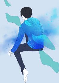 ธีมไลน์ Blue space and boy