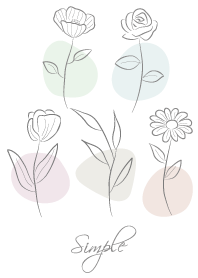ธีมไลน์ Simple elegant flowers -White gray-