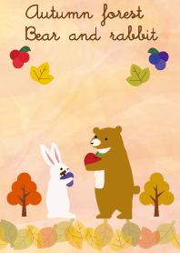 ธีมไลน์ Autumn forest Bear and rabbit