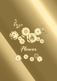 ธีมไลน์ Fashionable flowers gold