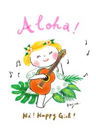 ธีมไลน์ Hi! Happy Girl! [Aloha!] #fresh